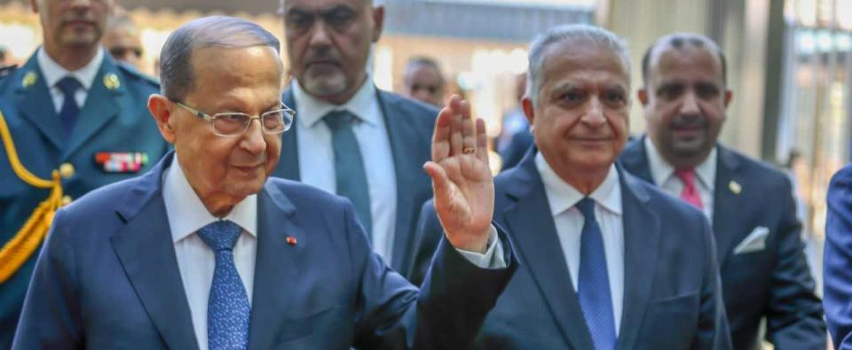 ESCWA Executive Secretary Mohamed Ali Alhakim welcomes Lebanese President Michel Aoun to the 30th Ministerial Session of ESCWA.