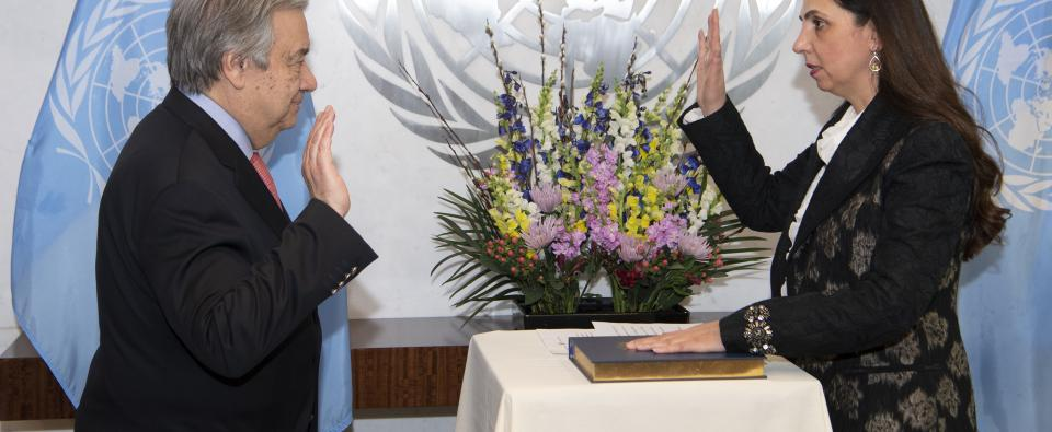 UN Secretary-General António Guterres swears in Ms. Rola Dashti, Executive Secretary of ESCWA