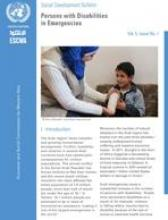 Social Development Bulletin: Persons with Disabilities in Emergencies Vol. 5, Issue No. 1 cover