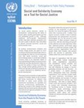 Social and solidarity economy as a tool for social justice, policy brief, No.4 cover