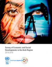 مسح التطورات الاقتصادية والاجتماعية في المنطقة العربية 2018-2019 غلاف (بالإنكليزية)
