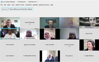 Snapshot of a virtual meeting showing thumbnails of speakers and participants